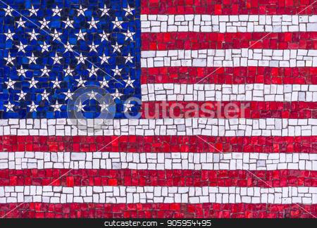 American flag mosaic of stones stock photo, Colorful American flag mosaic of stones by Shane Maritch