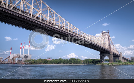 57th street bridge in NYC with cloudy blue sky stock photo, 57th street bridge in NYC with cloudy blue sky and electric plant by Shane Maritch