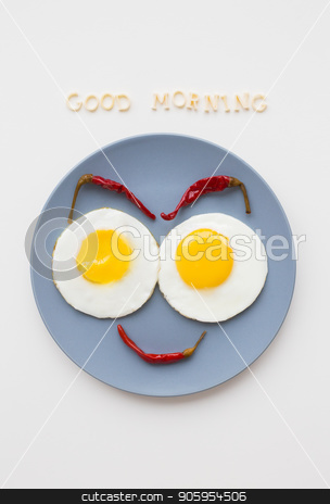 two beautiful eggs on a plate stock photo, cheerful breakfast, two eggs on a plate, the inscription Good Morning by Sergiy Artsaba
