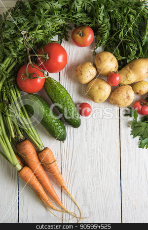 freshly grown raw vegetables stock photo, Close up of various freshly grown raw vegetables by olinchuk