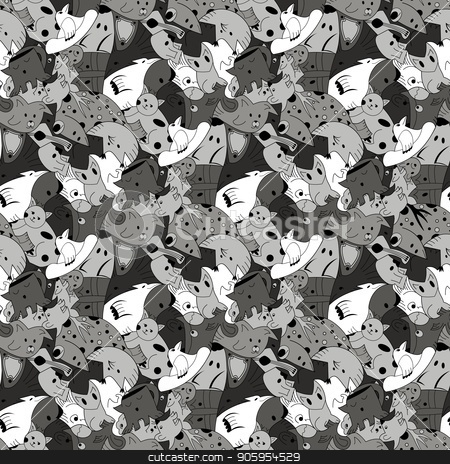 Greyscale background with fantastic creatures. stock vector clipart, Greyscale background with fantastic creatures. Seamless pattern with fantazy animals. Monochrome repeating pattern for the background of packaging paper, textiles, websites, wallpaper and other by Heliburcka