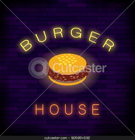 Burger House Neon Colorful Sign stock vector clipart, Burger House Neon Colorful Sign on Dark Brick Background by valeo5