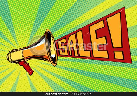 sale pop art megaphone background stock vector clipart, sale pop art megaphone background. retro vector vintage kitsch illustration drawing by studiostoks