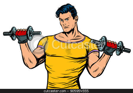 man with dumbbells isolate on white background stock vector clipart, man with dumbbells isolate on white background. Pop art retro vector illustration kitsch vintage drawing by studiostoks
