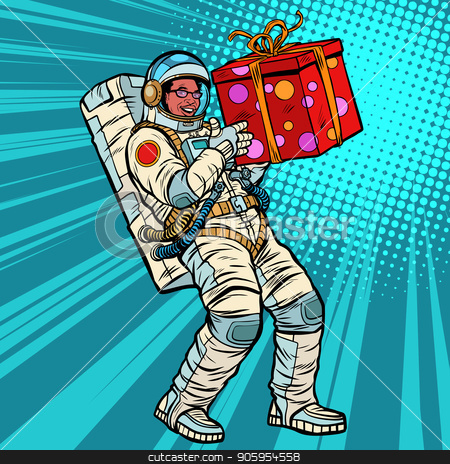 Astronaut birthday with a gift. African American people stock vector clipart, Astronaut birthday with a gift. African American people. Pop art retro vector illustration kitsch vintage drawing by studiostoks