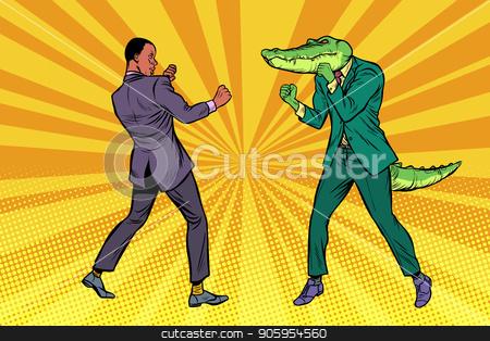 Businessman Boxing with a crocodile stock vector clipart, Businessman Boxing with a crocodile. Pop art retro vector illustration kitsch vintage by studiostoks