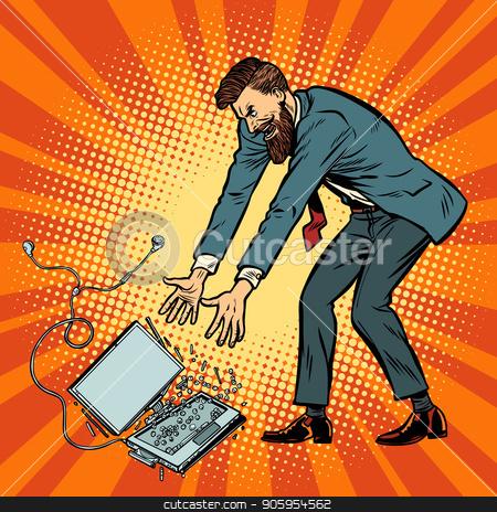 Man destroys laptop. Stress at work stock vector clipart, Man destroys laptop. Stress at work. Pop art retro vector illustration kitsch vintage by studiostoks