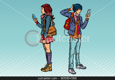 Young man and girl. Teen couple with smartphones stock vector clipart, Young man and girl. Teen couple with smartphones. Pop art retro vector illustration kitsch vintage by studiostoks