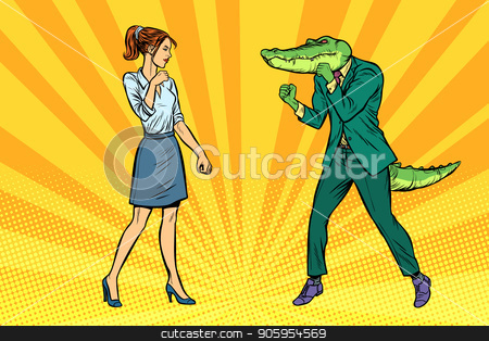 Woman businesswoman Boxing fights with crocodile reptiloid stock vector clipart, Woman businesswoman Boxing fights with crocodile reptiloid. Pop art retro vector illustration kitsch vintage by studiostoks