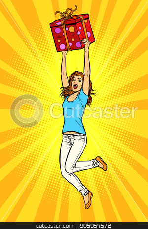 Joyful young woman jumping up with a gift stock vector clipart, Joyful young woman jumping up with a gift. Pop art retro vector illustration kitsch vintage by studiostoks