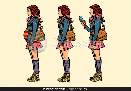 set of teen girl. pregnant and with phone stock vector clipart, set of teen girl. pregnant and with phone. Pop art retro vector illustration kitsch vintage by studiostoks