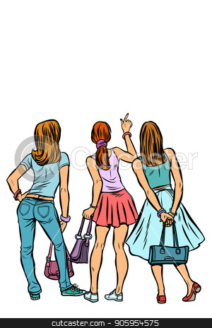 Young women shoppers back. Isolate on a white background stock vector clipart, Young women shoppers back. Isolate on a white background. Pop art retro vector illustration kitsch vintage by studiostoks