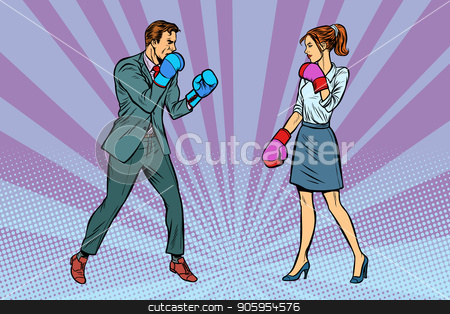 Woman Boxing fights with man stock vector clipart, Woman Boxing fights with man. Pop art retro vector illustration kitsch vintage by studiostoks