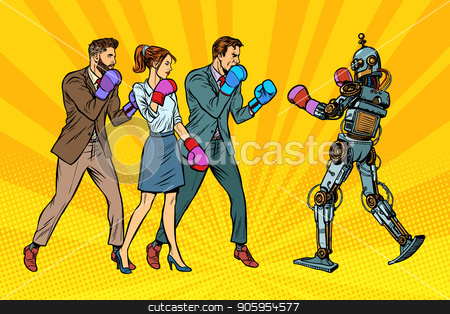 People box with a robot. Humanity and new technologies stock vector clipart, People box with a robot. Humanity and new technologies. Pop art retro vector illustration kitsch vintage by studiostoks