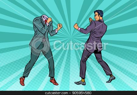 Two men businessman fighting. Pattern without head stock vector clipart, Two men businessman fighting. Pattern without head. Pop art retro vector illustration kitsch vintage by studiostoks