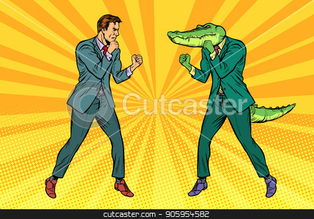 Man Boxing fights with crocodile reptiloid stock vector clipart, Man Boxing fights with crocodile reptiloid. Pop art retro vector illustration kitsch vintage by studiostoks