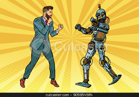 Businessman fighting with a robot stock vector clipart, Businessman fighting with a robot. Pop art retro vector illustration kitsch vintage by studiostoks