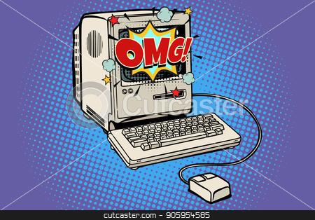 OMG vintage retro computer stock vector clipart, OMG vintage retro computer. Pop art retro vector illustration kitsch vintage by studiostoks