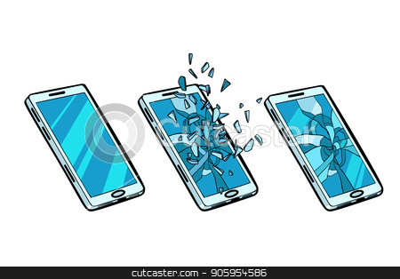 Smartphone whole, cracked glass and the phone is broken stock vector clipart, Smartphone whole, cracked glass and the phone is broken. Pop art retro vector illustration kitsch vintage by studiostoks