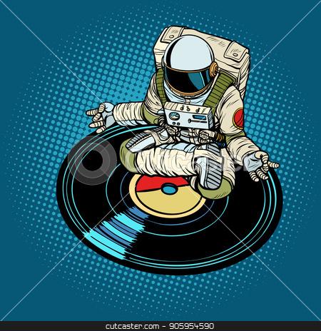 Astronaut man meditates to music, yoga stock vector clipart, Astronaut man meditates to music, yoga. Pop art retro vector illustration kitsch vintage by studiostoks