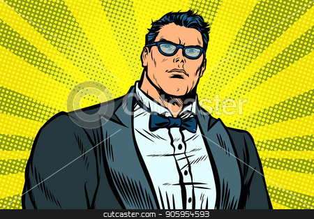 strong handsome man in a tuxedo stock vector clipart, strong handsome man in a tuxedo. Pop art retro vector illustration kitsch vintage by studiostoks