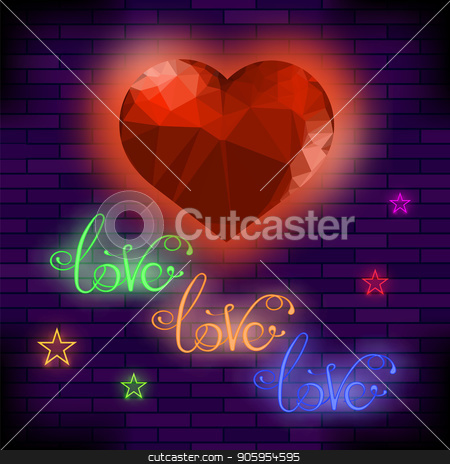 Red Neon Love Sign stock vector clipart, Red Neon Love Sign on Brick Background by valeo5