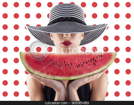 Girl in swimsuit with watermelon in hand and red circle background stock photo, Girl in swimsuit with fresh watermelon in hand and red circle background by Federico Caputo