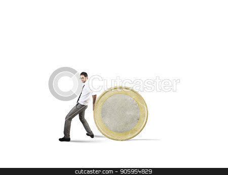 Businessman moves a coin. concept of difficulty to saving money stock photo, Businessman moves a golden coin. concept of difficulty to saving money by Federico Caputo