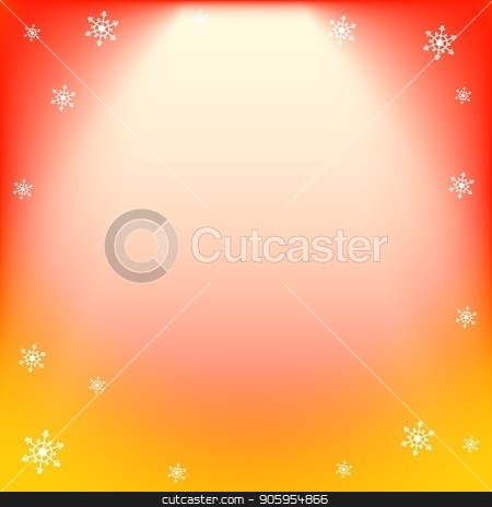 Winter vector red and yellow light effect, projector ray with shining halo and snowflakes stock vector clipart, Winter vector red and yellow light effect, projector ray with shining halo and snowflakes. Falling magical spotlight for design of Christmas or New Year congratulations, offers, banners, invitations by Heliburcka