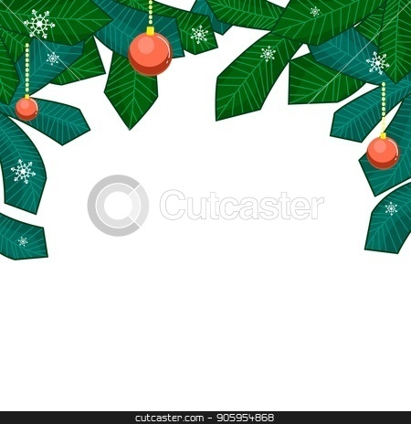 Christmas branches of the Christmas tree with a balls, and snowflakes isolated on white background. stock vector clipart, Christmas branches of the Christmas tree with a balls, and snowflakes isolated on white background. Merry christmas style for typography greeting card or web banner. Vector flat element for winter by Heliburcka
