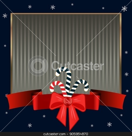 Christmas candy canes. Elegant strict dark blue background with gold frame for text on winter theme. stock vector clipart, Striped dark blue background with a red ribbon with a bow, snowflakes and sweet Christmas candy canes. Elegant strict background with gold frame for text on winter theme. Can be used for invitations by Heliburcka