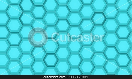 Illustration design of geometric hexagon surface. Grid pattern of waving hexagones. Cyan color 3D rendering stock photo, Illustration design of geometric hexagon surface. Grid pattern of waving hexagones. Cyan color by T-flex