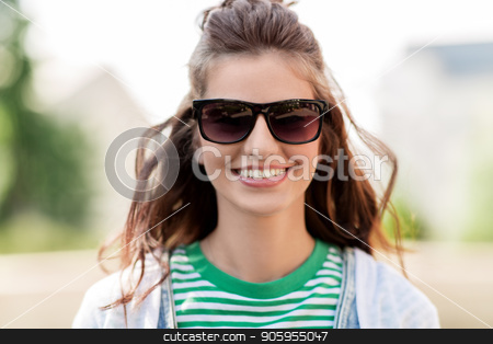 happy young woman in sunglasses outdoors stock photo, people, summer and eyewear - happy smiling young woman in sunglasses outdoors by Syda Productions