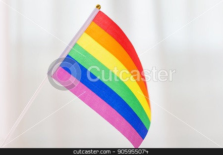 close up of gay pride rainbow flag stock photo, gay pride, homosexual and lgbt concept - close up of rainbow flag by Syda Productions