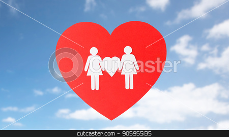 female couple white paper pictogram on red heart stock photo, gay pride, homosexual, valentines day and lgbt concept - female couple white paper pictogram on red heart over blue sky background by Syda Productions
