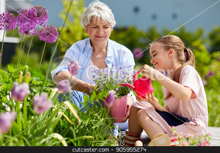 grandmother and girl planting flowers at garden stock photo, gardening, family and people concept - happy grandmother and granddaughter planting flowers at summer garden by Syda Productions