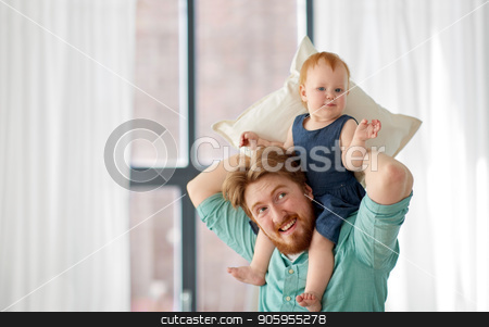 father carrying his little baby daughter on neck stock photo, family, fatherhood and people concept - happy red haired father carrying his little baby daughter on neck at home by Syda Productions