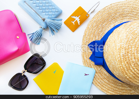 Preparation for vacation - hat, glasses, passport, cosmetic bag, purse. Close-up stock photo, Preparation for vacation - hat, glasses, passport, cosmetic bag, purse Close-up by Sergiy Artsaba