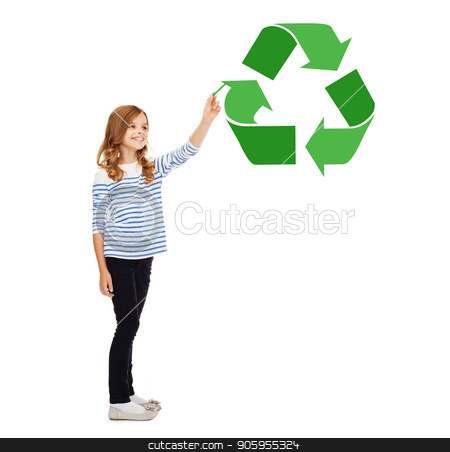 girl with marker pointing to green recycle symbol stock photo, waste recycling, reuse, environment and ecology concept - happy girl with marker pointing to green recycle symbol over white background by Syda Productions