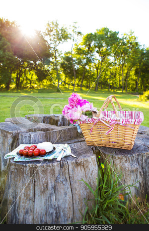 Picnic on nature stock photo, Beautiful basket with flowers and a plate with food stands on a wooden stump by Sergiy Artsaba