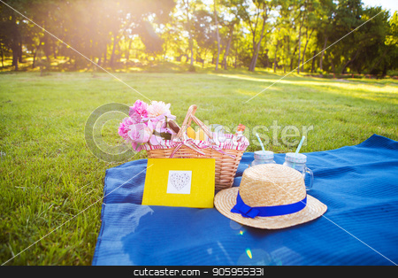 Picnic on nature stock photo, Beautiful flowers in a basket and yellow album lie on the grass-bright picnic by Sergiy Artsaba