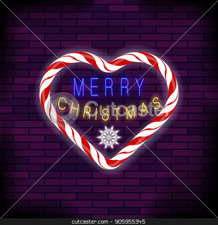 Merry Christmas Colorful Neon Sign with Heart on Brick Background stock vector clipart, Merry Christmas Colorful Neon Sign with Candy Heart on Brick Background by valeo5