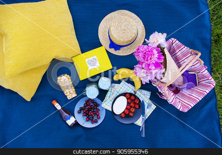 Picnic on nature stock photo, colorful picnic with delicious food and drinks, lunch outdoors by Sergiy Artsaba