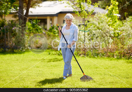 senior woman with lawn rake working at garden stock photo, gardening and people concept - happy senior woman with lawn rake working at summer garden by Syda Productions