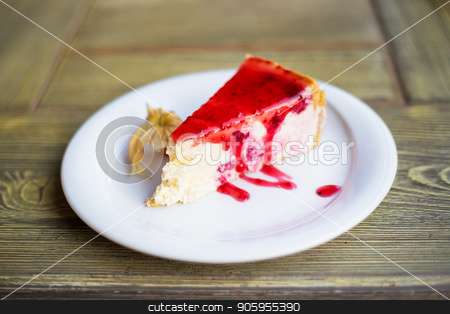 Delicious and beautiful cheesecake with strawberry jam. stock photo, Delicious and beautiful cheesecake with strawberry jam by Sergiy Artsaba