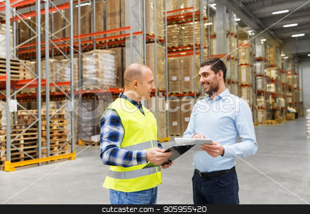 worker and businessman with tablet pc at warehouse stock photo, wholesale, logistic business and people concept - warehouse worker and businessman with clipboard and tablet pc computer talking by Syda Productions