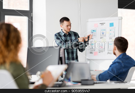 man showing smart watch to creative team at office stock photo, business, technology and people concept - man showing smart watch to creative team at office presentation by Syda Productions