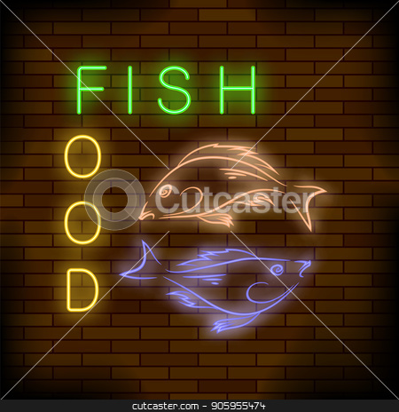 Colorful Neon Fish Food Sign stock vector clipart, Colorful Neon Fish Food Sign on Brick Wall Background. by valeo5