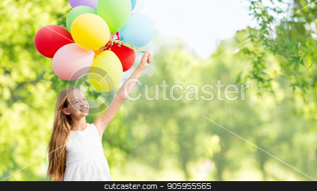 happy girl with balloons over natural background stock photo, celebration, children and birthday party concept - happy girl with colorful balloons over green natural background by Syda Productions