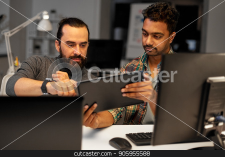 creative team with tablet pc working at office